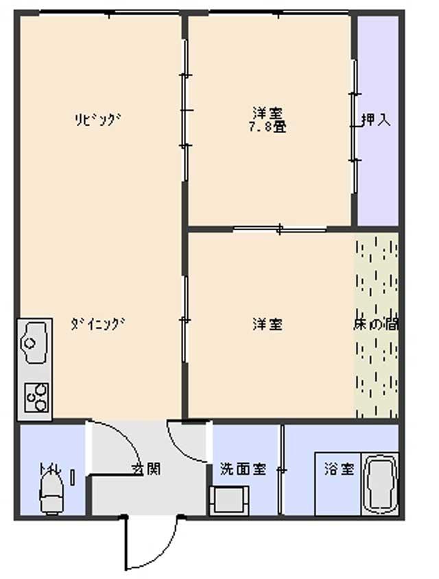 間取り 洋室×2、LDK
